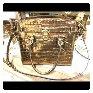 Michael Kors Handbag metallic gold croc